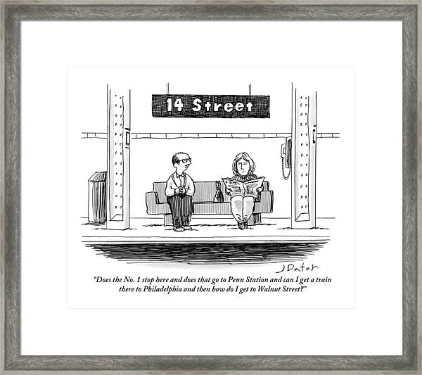 Man Pestering A Woman Who Is Sitting Next Framed Print