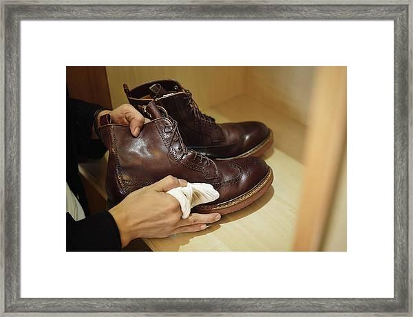 Man Polishing Leather Shoes Framed Print by Yagi Studio