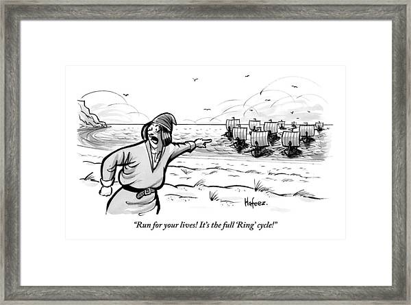 Man Standing On The Beach Screams As A Fleet Framed Print