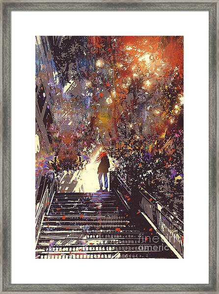 Man Standing On The Top Of Stair In The Framed Print by Tithi Luadthong