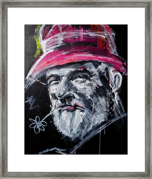 Man With A Flower Framed Print