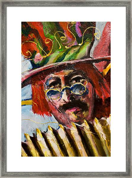 Man With Accordion-detail From Three Red Musicians Framed Print