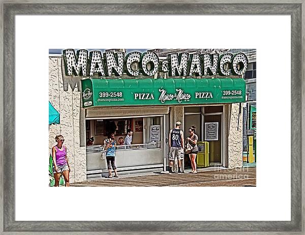 Manco And Manco Pizza Framed Print
