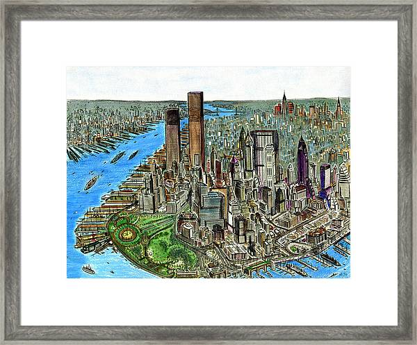 New York Downtown Manhattan 1972 Framed Print