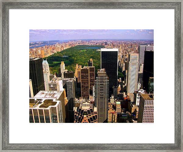 Manhattan And Central Park Framed Print