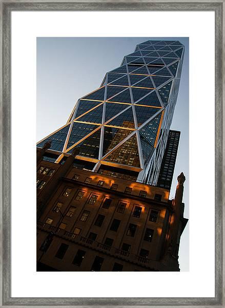 Manhattan Blues And Oranges Framed Print