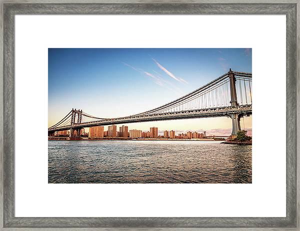 Manhattan Bridge New York City Skyline Framed Print
