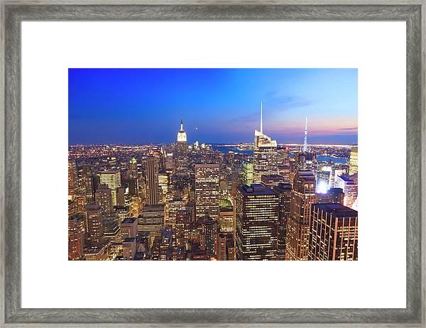 Manhattan By Night Framed Print