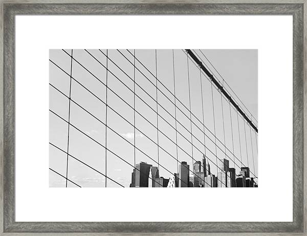 Manhattan From Brooklyn Bridge Framed Print