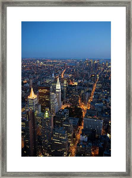Manhattan From Empire State Building Framed Print