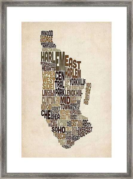 Manhattan New York Typography Text Map Framed Print