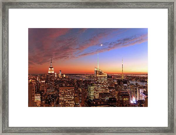 Manhattan, Nyc At Sunset Xxxl Framed Print