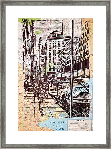 Manhattan On Map Framed Print
