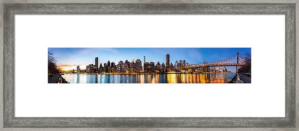 Manhattan Panorama And Queensboro Bridge Framed Print