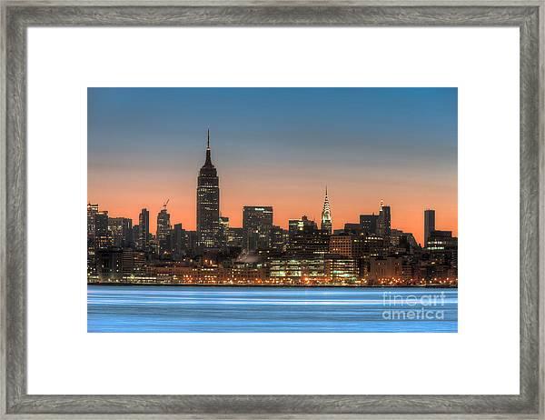 Manhattan Skyline And Pre-sunrise Sky I Framed Print