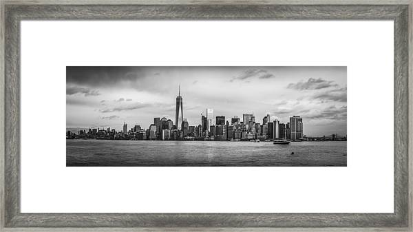 Manhattan Skyline Black And White Framed Print
