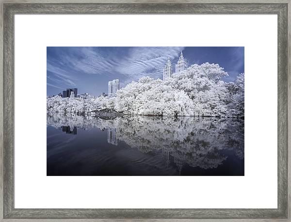 Manhattan Skyline Infrared Framed Print