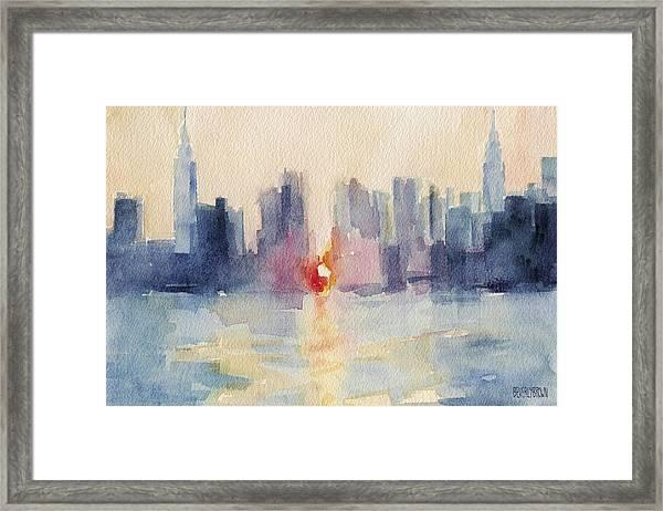 Manhattanhenge New York Skyline Painting Framed Print