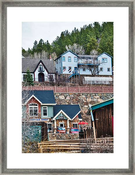 Framed Print featuring the digital art Manitou Springs Villiage by Mae Wertz