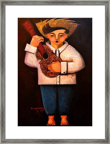 Framed Print featuring the painting Manolito El Cuatrista 1942 by Oscar Ortiz