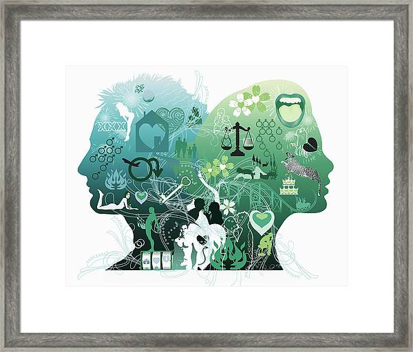 Mans And Womans Profile Framed Print