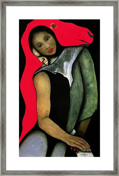 Manwoman And A Red Horse Framed Print