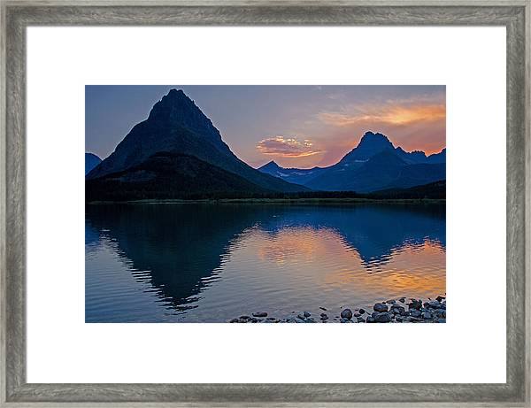 Many Glacier Sunset Framed Print