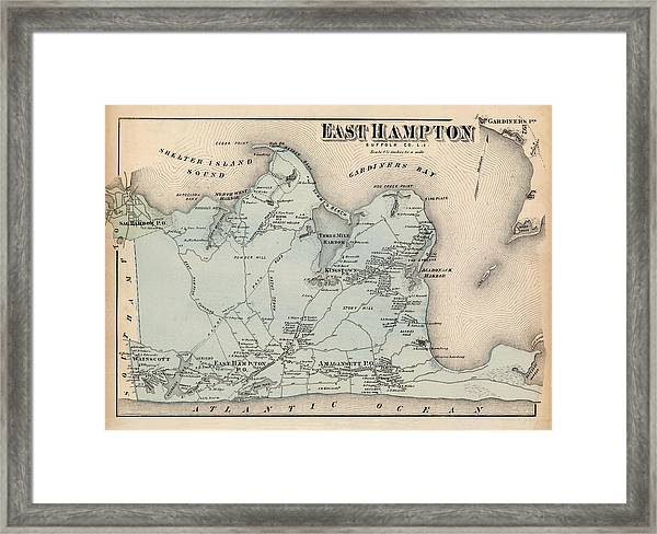 Map Of East Hampton 1873 Framed Print