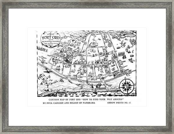 Map Of Fort Ord Army Base Monterey California Circa 1950 Framed Print