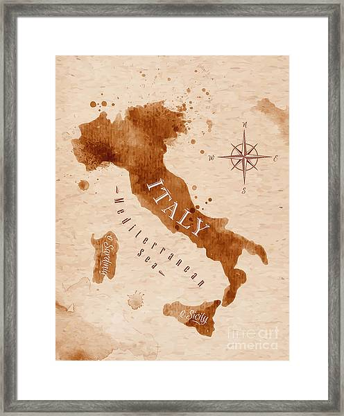 Map Of Italy In Old Style, Brown Framed Print