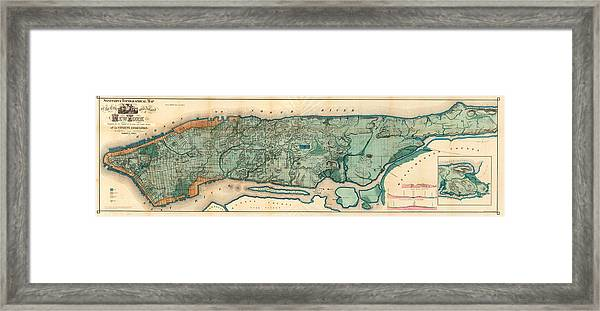 Map Of Manhattan Framed Print