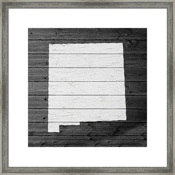 Map Of New Mexico State Outline White Distressed Paint On Reclaimed Wood Planks Framed Print