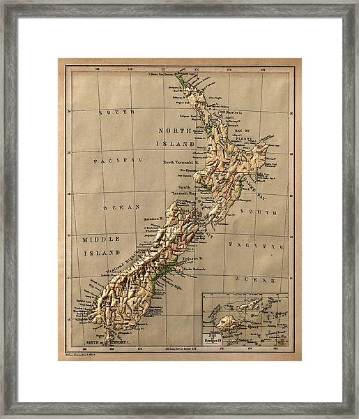 Map Of New Zealand 1880 Framed Print