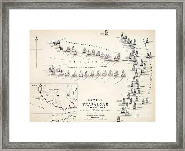 Map Of The Battle Of Trafalgar Framed Print