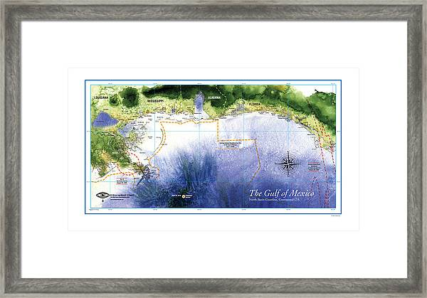Map Of The Gulf Of Mexico Northern Coast Framed Print