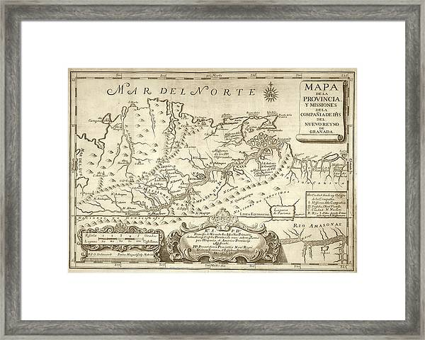 Map Of The Orinoco River Framed Print by Library Of Congress