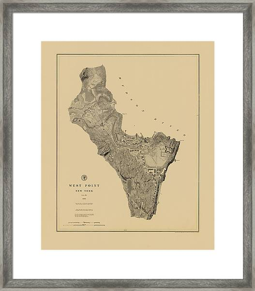 Map Of West Point 1883 Framed Print