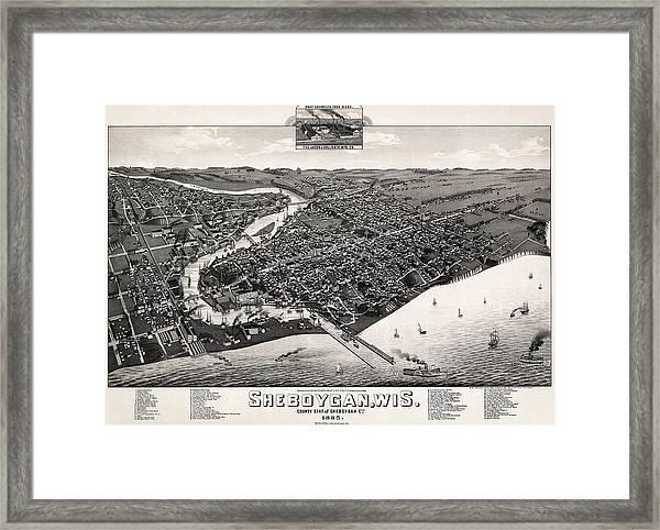Map Sheboygan, 1885 Framed Print