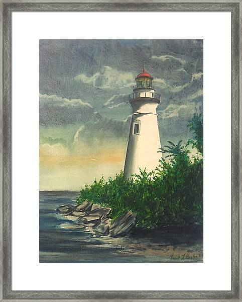 Marblehead Light On Lake Erie Framed Print