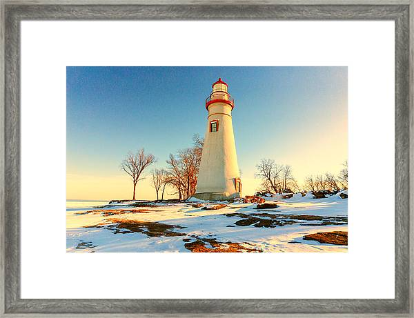 Marblehead Ohio Lighthouse Sun And Snow Framed Print