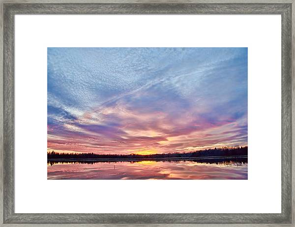 Framed Print featuring the photograph March Sunset At Whitesbog by Beth Sawickie