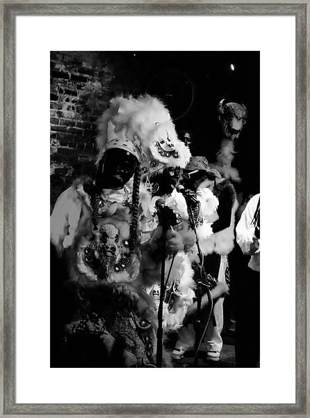 Mardi Gras Indians At The Gold Mine Saloon In New Orleans Framed Print
