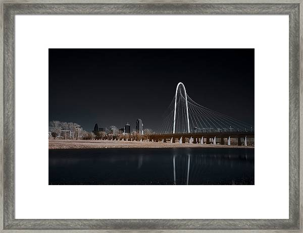 Margaret Hunt Hill Bridge And Dallas Skyline In Infrared Framed Print