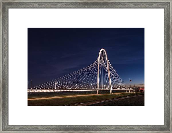 Margaret Hunt Hill Bridge In Dallas At Night Framed Print