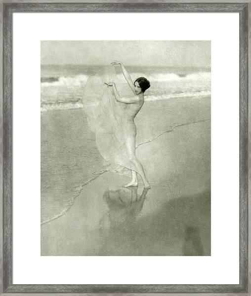Margaret Severn On A Beach Framed Print by Arnold Genthe