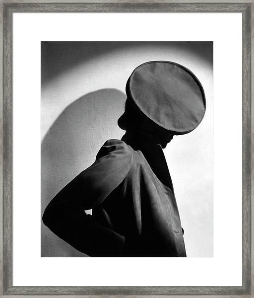 Margot Gaylor Wearing A Schiaparelli Beret Framed Print