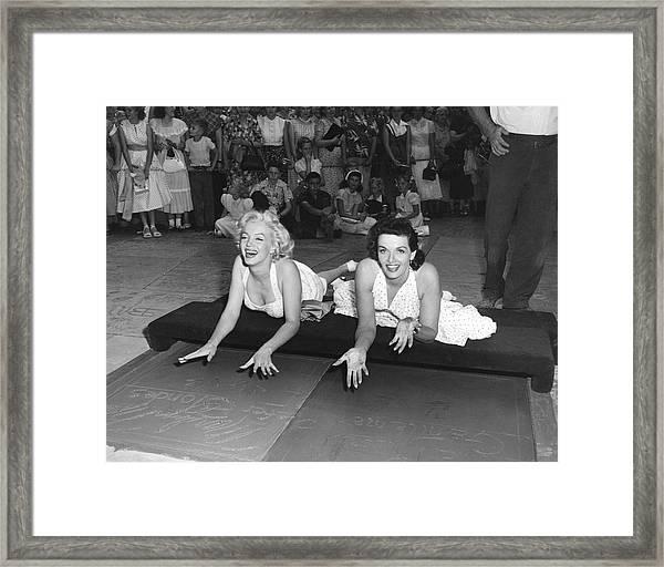 Marilyn Monroe And Jane Russell Framed Print