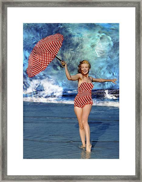 Marilyn Monroe - On The Beach Framed Print