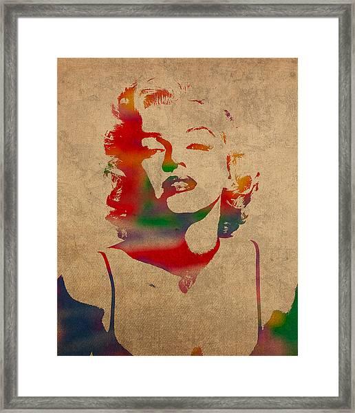 Marilyn Monroe Watercolor Portrait On Worn Distressed Canvas Framed Print