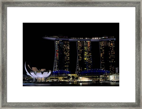 Marina Bay Sands Integrated Resort Hotel And Casino And Artscience Museum Singapore Marina Bay Framed Print